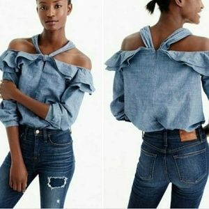 J. Crew Chambray Blouse Off Shoulder Ruffle Collar